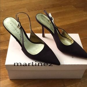 Martinez Valero Brown Silk Heels. Size 7